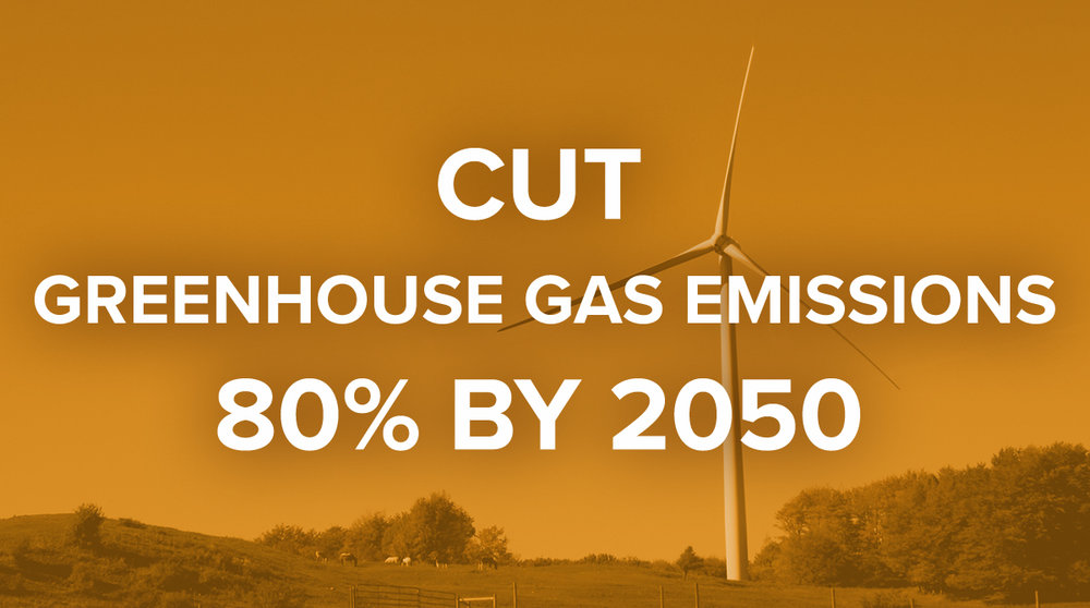 Cut greenhouse gas emissions by 80% by 2050