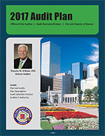 Cover of the 2017 Audit plan with an image of Downtown Denver and colorful flowers