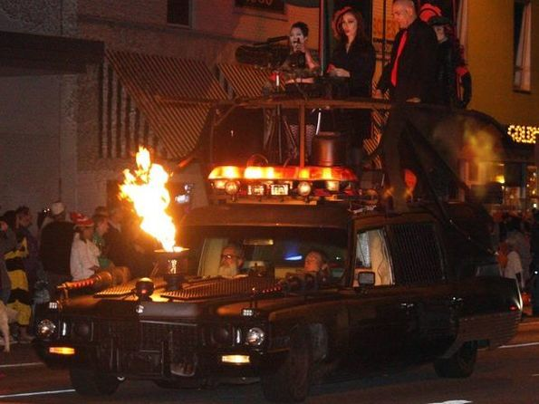 Hearse in the parade shooting fire