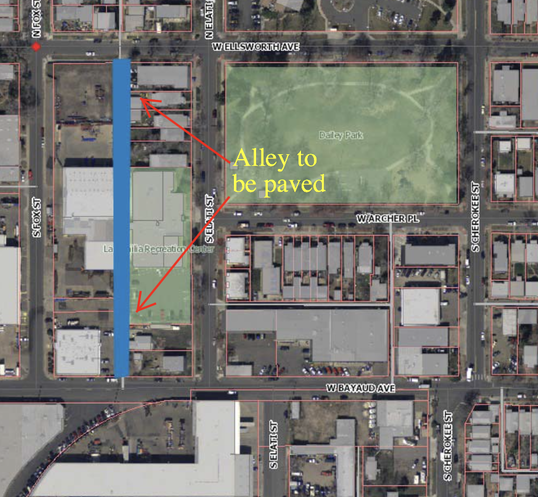 Map of the alley that is going to be paved.
