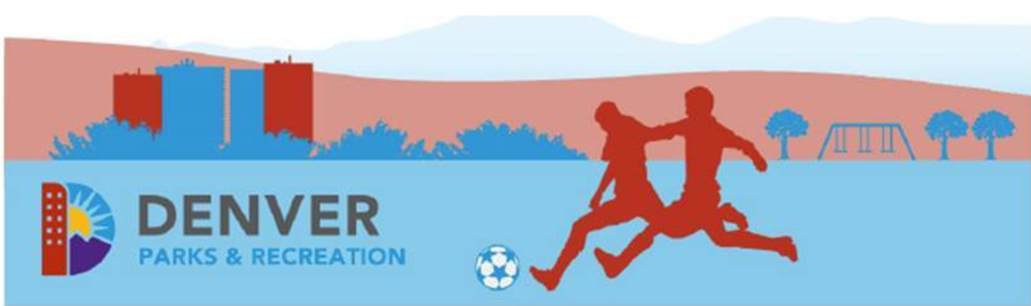 Illustration of two people playing soccer in a Denver park next to the Denver Parks and Recreation Logo